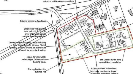 An application for 15 homes and a shop in Little Fransham has been submitted to Breckland Council. P