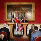Sir Michael Fallon and US Defence Secretary James Mattis (left) during a joint press conference at L