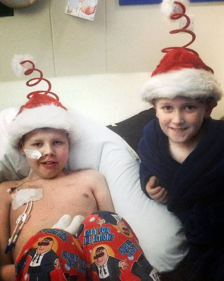 Deryn with his brother Dylan in the hospicein 2013 which the family were told would be his last Chri
