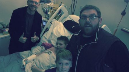 Deryn's favourite actors Simon Pegg (back) and Nick Frost visit him and his brother Dylan in Novemb