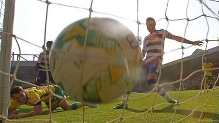 Wes Hoolahan scores his second goal, Norwich City's sixth of their 7-1 win over Reading at Carrow Ro