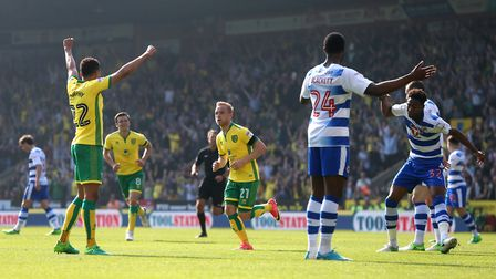 Alex Pritchard struck twice in Norwich City's 7-1 Championship win against Reading. Picture: Paul Ch