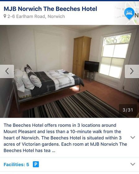 Screenshot from Booking.com of MJB's The Beeches Hotel on Earlham Road, Norwich. Photo: Screenshot/B