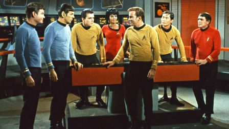 The original crew of the Starship Enterprise. Cast members from left are DeForest Kelley, Leonard Ni
