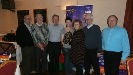 The winning team Ipso Facto being presented with the shield by Lynne Nobbs, chairman of Lowestoft Fr