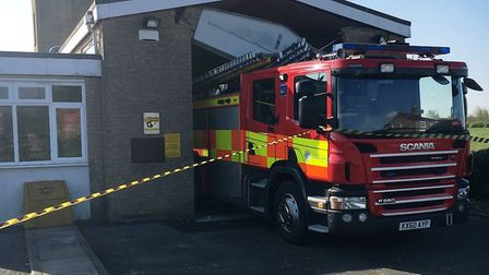The scene at Manea fire station this morning. Picture: Cambridgeshire Fire Service