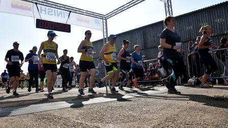 Crossing the start-finish line. Picture: Sonya Duncan