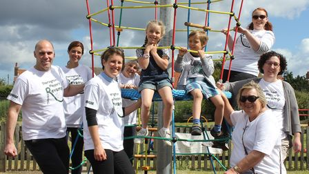 Sheringham Playpark Revamp group members, who are appealing for the return of a PVC banner stolen fr