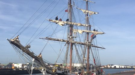 The STS Morgenster arrives at the port of Lowestoft, one of two classic ships that sailed into the p