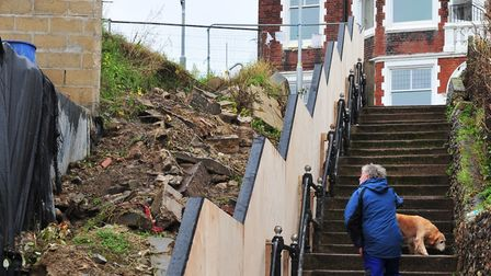 Work is soon to be started on White Lion Steps, Gorleston after the embankment collapsed.