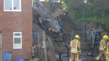 The scene of a collapsed wall by Beach Road, Gorleston. Picture by Emma Tibble.