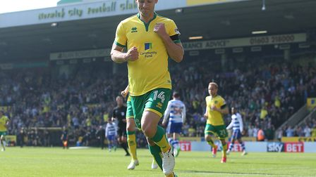 Wes Hoolahan celebrates the first of his two goals against Reading. Picture by Paul Chesterton/Focu