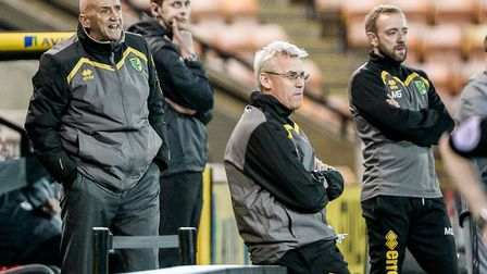 Norwich City's interim U23s coaching team including, left, academy manager Richard Money and, right,