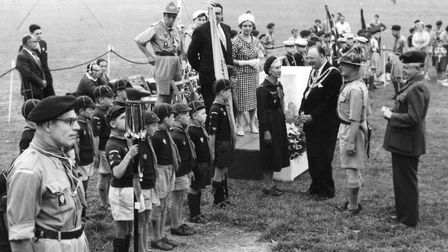 The inspection of Barton Scout Group prior to the official opening of their new headquarters at Bart