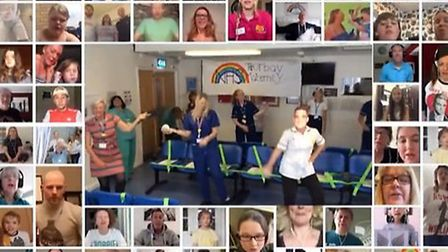 Torbay maternity team (centre) feature in the NHS Angels tribute sing-along