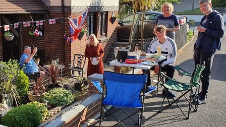 Social distancing street party in Dolphin Crescent, Paignton