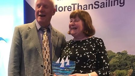 Dave and Shirley Musgrove, founders of Torquay's Disabled Sailing Association, with their award
