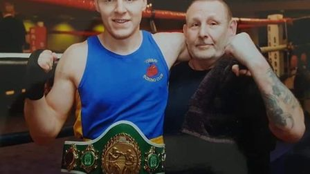 Ben Andrews, Western Counties light heavywieght champion, with Torbay Amateur Boxing Club head coach