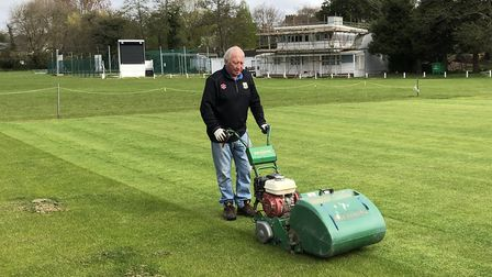 Ian Western has plenty of room to work on the square at Torquay CC's Recreation Ground