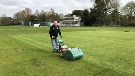 Ian Western mowing the grass at Torquay Cricket Club in the hope there may be play this summer