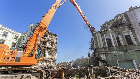 Demolition teams get to work at the Palace Hotel inTorquay Photos:Poppy Jakes Photography