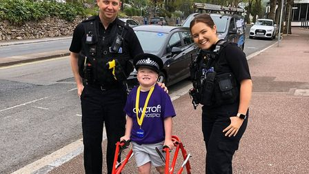 Louie Skinner was greeted by Torquay police dueing his walk