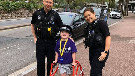 Louie is cheered on by Torquay police