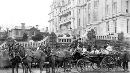 Colonel Charles Burn sitting in a carriage outside the Grand Hotel in December, 1910 (PR6623)