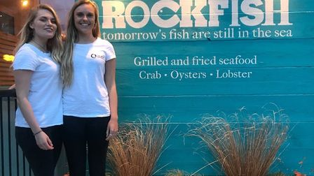 Wave Project volunteers Kathryn Chalk and Isobel Massey at Rockfish