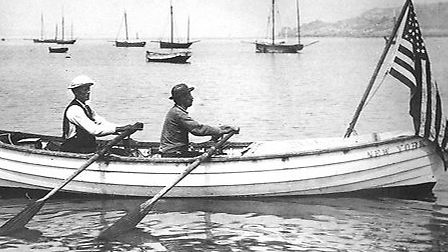 Harbo and Samuelson aboard 'Fox' in 1896