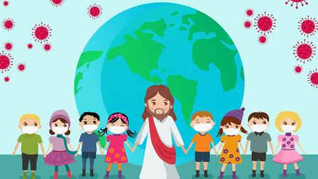 Jesus protecting all children across the globe from the C`ovid-19 pandemic