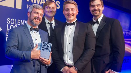 Tom Birbeck, James Doddrell, Sam Hickling, James Murphy - the ARC Marine team picking up their award