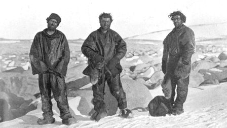 Three members of the Northern Party after their return to Cape Evens (Frank is on the far right)