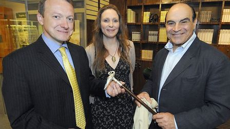 David Suchet presenting Poirot's swan cane to the museum in 2013