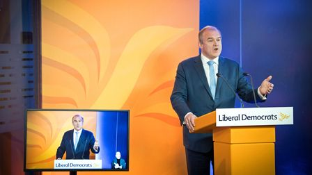 Liberal Democrat leader Sir Ed Davey delivers his keynote speech during the party's online conference