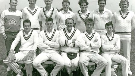 The Galmpton Cricket Club team of 1990. From left, back: Clive Hayward (scorer), Mark Faulkner, Mik