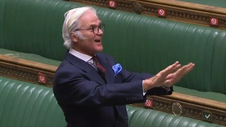 Tory Brexiteer MP Desmond Swayne in the House of Commons