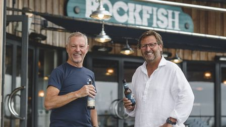 Mitch Tonks, right, from Rockfish drinks to the partnership with John Tiner, from Salcombe Brewery