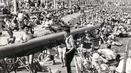 A crowded Paignton Sands and promenade in August 1964 (PR24538) Photo: Western Morning News