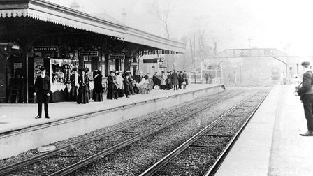 Paignton train station circa 1885 prior to the laying of the double track to Torquay (PR10730.1)