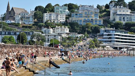 Boomtime at last - a busy Torre Abbey Beach in Torquay Photo:Jay Richards