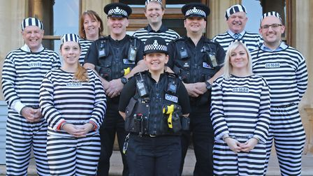 Rowcroft jailbirds with the police before social distancing rules were in place