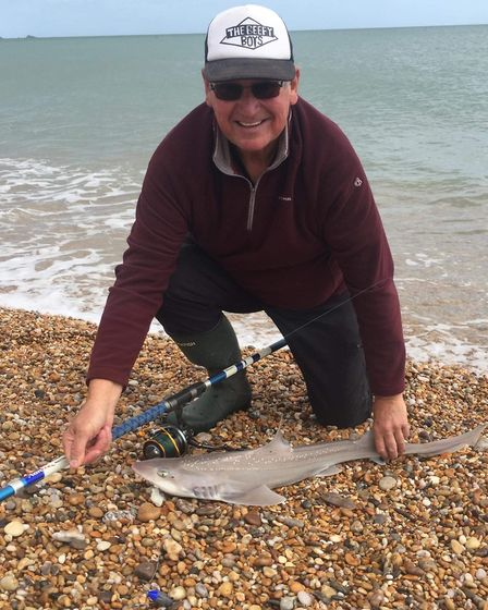 Steve Harford with his first smoothhound