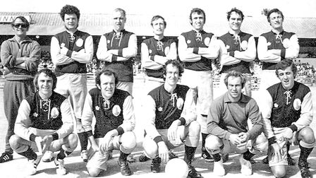 Torbay Gentlemen's team before the big match. Back: Ray Slocombe (trainer), Malcolm Bidder, Percy Wo
