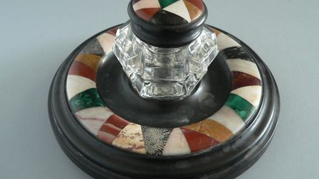 An inkwell made of South Devon stones in a style known as scrapwork