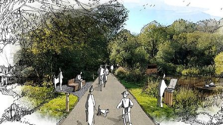 An image of the proposed shared path at Clennon Valley, Paignton. Photo: LHC Design - LDRS