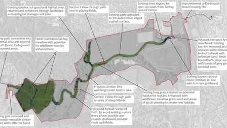 Masterplan for the proposed shared path at Clennon Valley, Paignton. Photo: LHC Design - LDRS