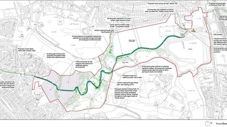 Route of the shared path at Clennon Valley, Paignton. Photo: LHC Design - LDRS