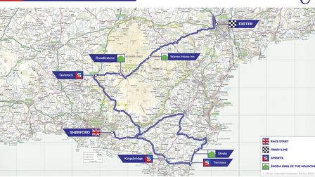 The full stage map for Stage 2 of the Tour of Britain. Photo: Tour of Britain