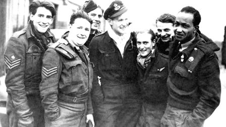 Smiling faces from the crew of the Lancaster Bomber , HAA or Heavy Anti-Aircraft Planes , including